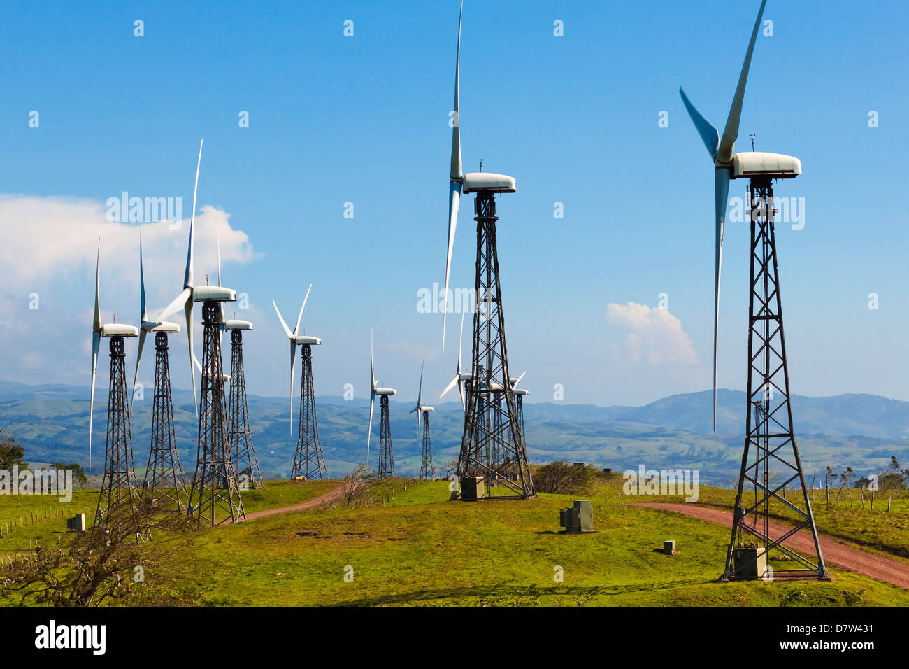 Some of the 55 20MW turbines at the Tilaran wind power farm in hills west of Arenal, Tilaran, Guanacaste Province, - Stock Image
