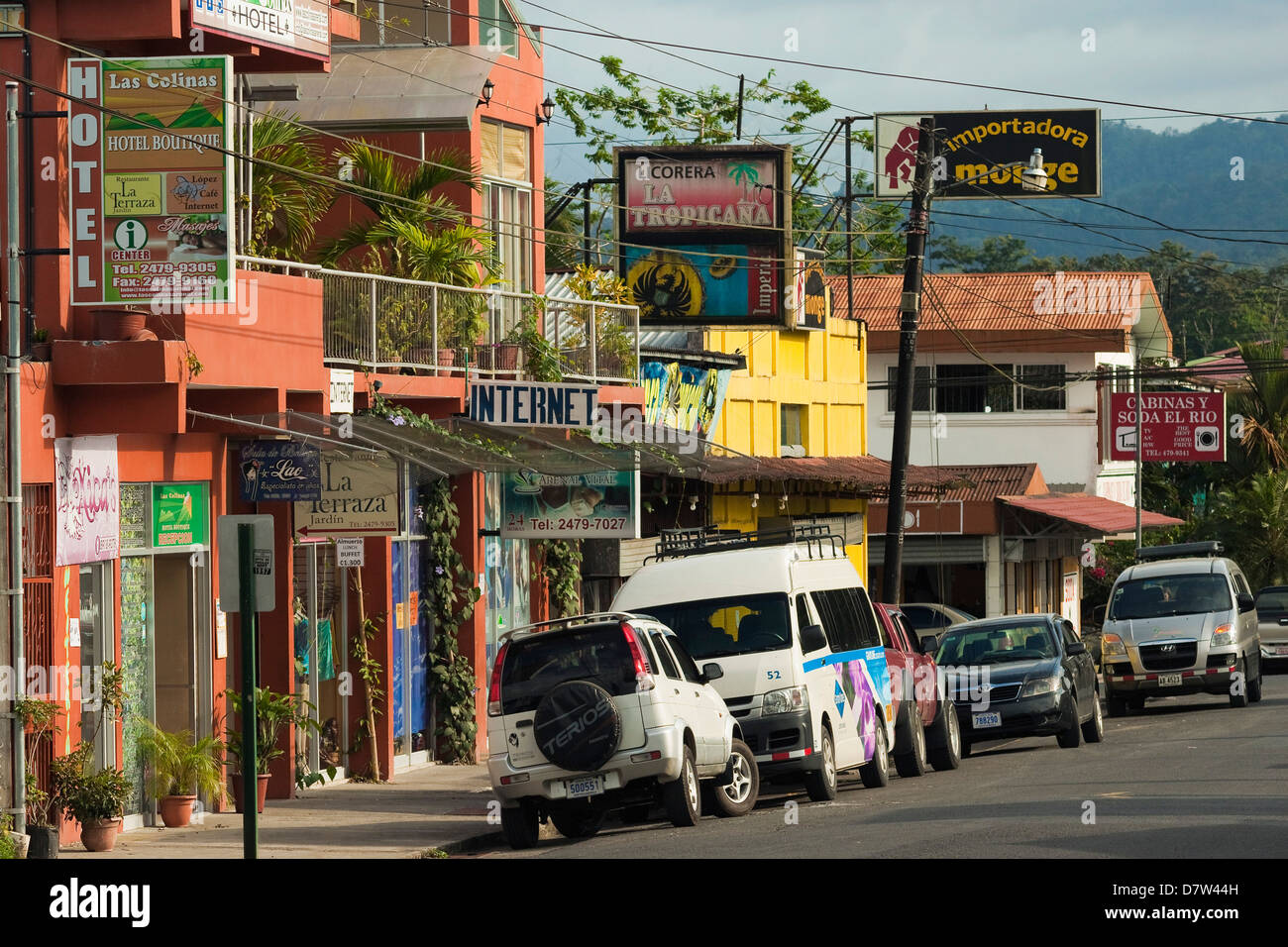 Centre of town and hub for tourist activities near hot springs and Arenal Volcano, La Fortuna, Alajuela Province, - Stock Image