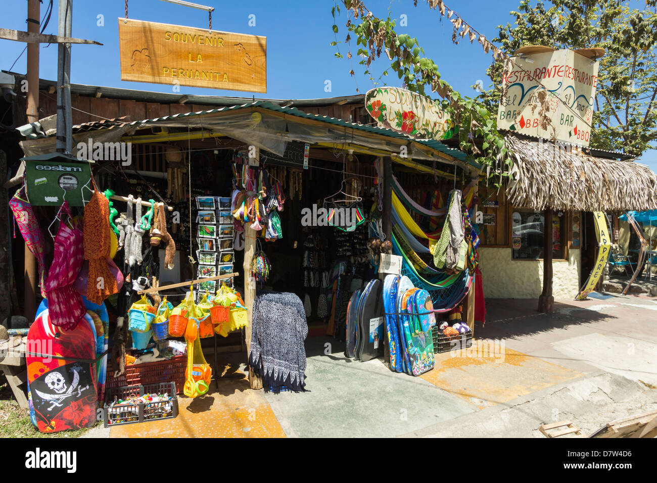 Tourist goods shop in the centre of this laid-back village & resort, Samara, Guanacaste Province, Nicoya Peninsula, - Stock Image