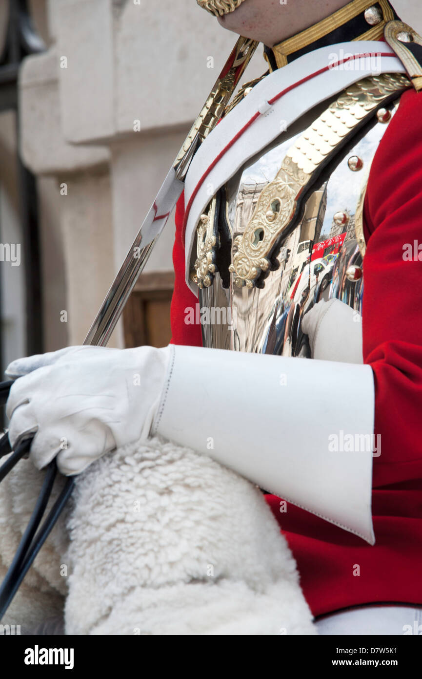 close up of the reflections in a Coldstream Guardsmans breastplate whilst on horseback guard in London - Stock Image
