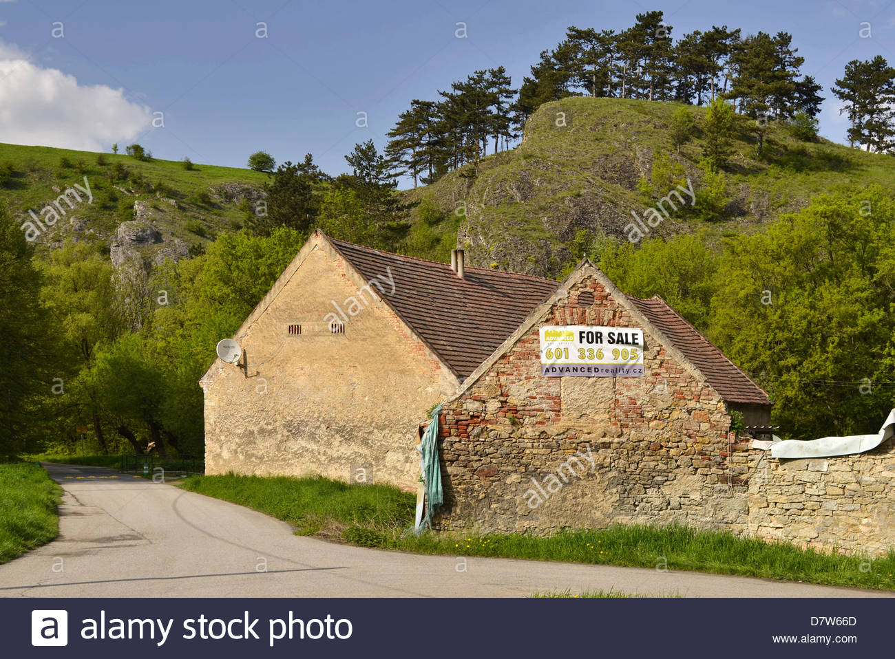 Derelict house for sale in rural suburb of Prague Czech Republic Europe. - Stock Image
