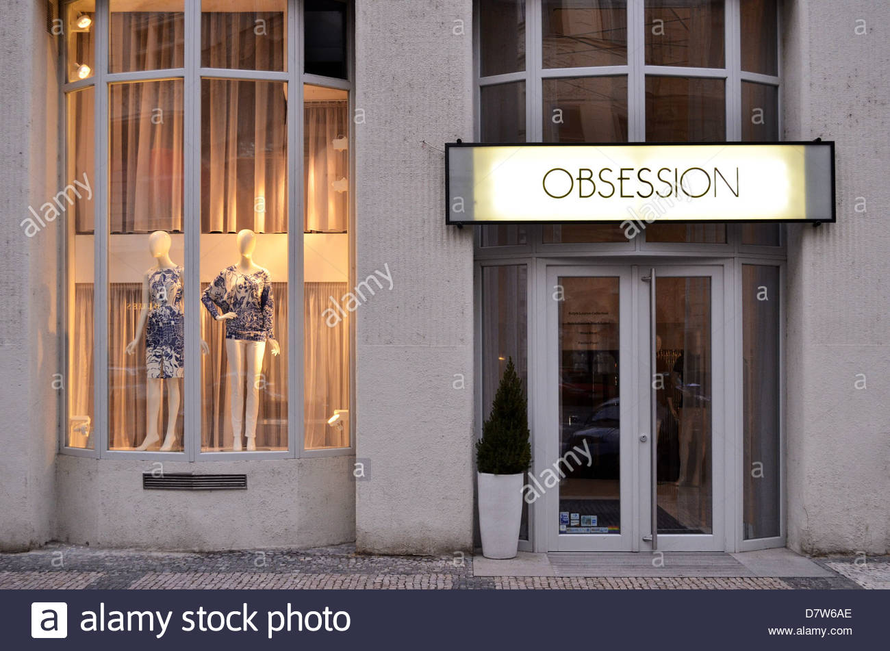 ''Obsession'' multiple fashion brands store in Old Town Prague Czech Republic - Stock Image