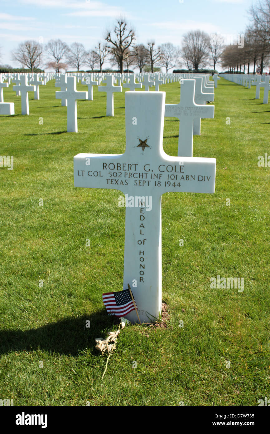 Grave of Lieutenant Colonel Robert G Cole recipient of the Congressional Medal of Honor - Stock Image