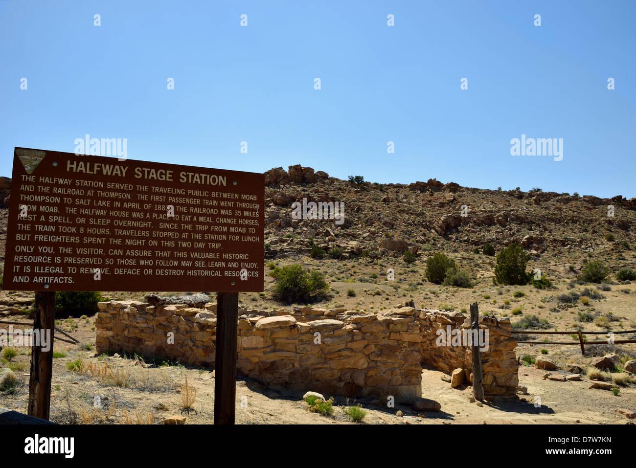 Remnant of Halfway Stage Wagon station. Moab, Utah, USA. - Stock Image