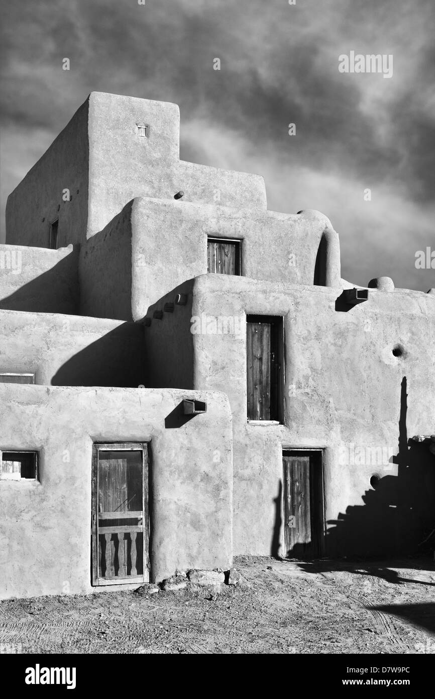 Stacked Dwellings at Taos Pueblo, B&W photo in the style of Ansel Adams and W.H.Jackson - Stock Image
