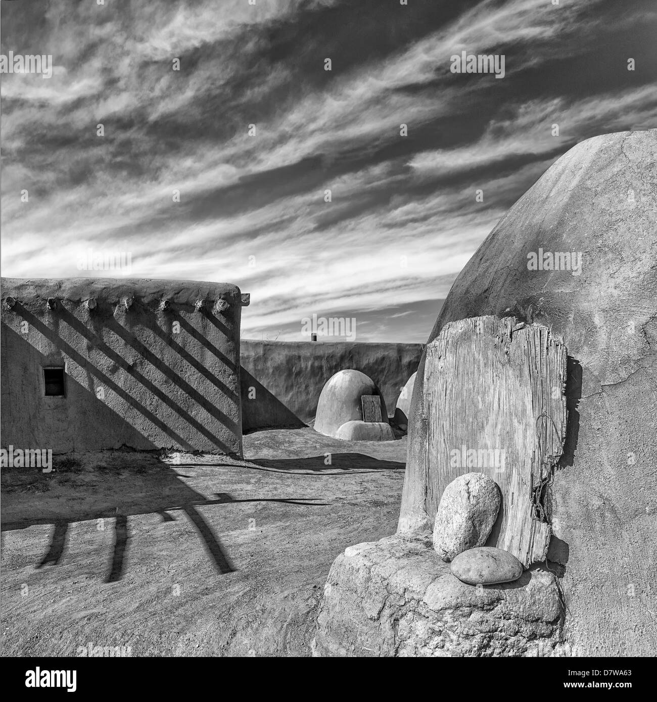 Bee Hive bread ovens at Taos Pueblo,B&W in the style of Ansel Adams,high resolution  and very large file size. - Stock Image