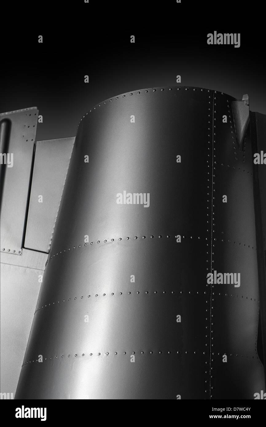 A rocket fuselage,knockout  image on black background. - Stock Image