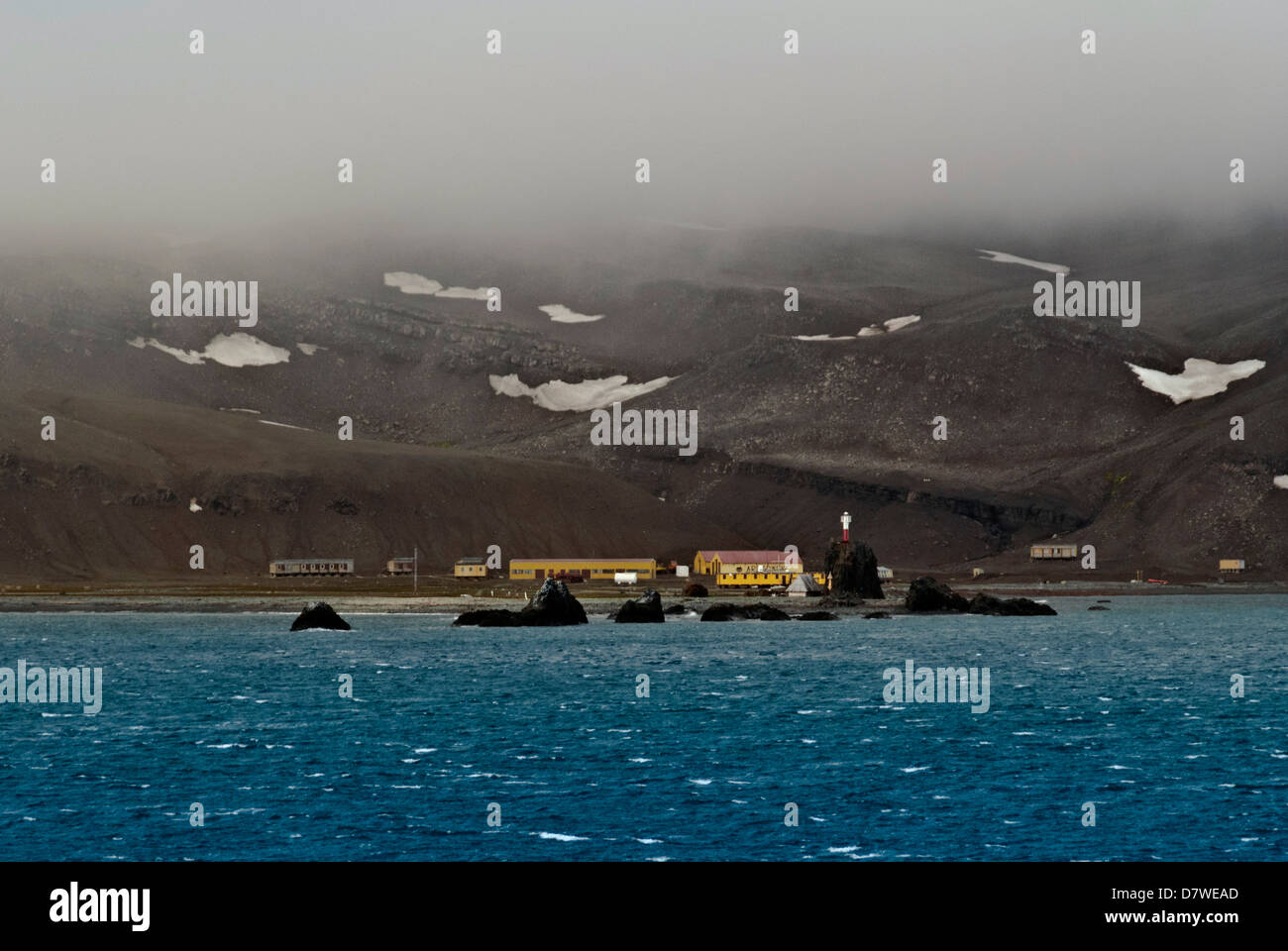 Arctowski Polish Antarctic research station South Shetland Island Antarctica named after discoverer of wind chill - Stock Image