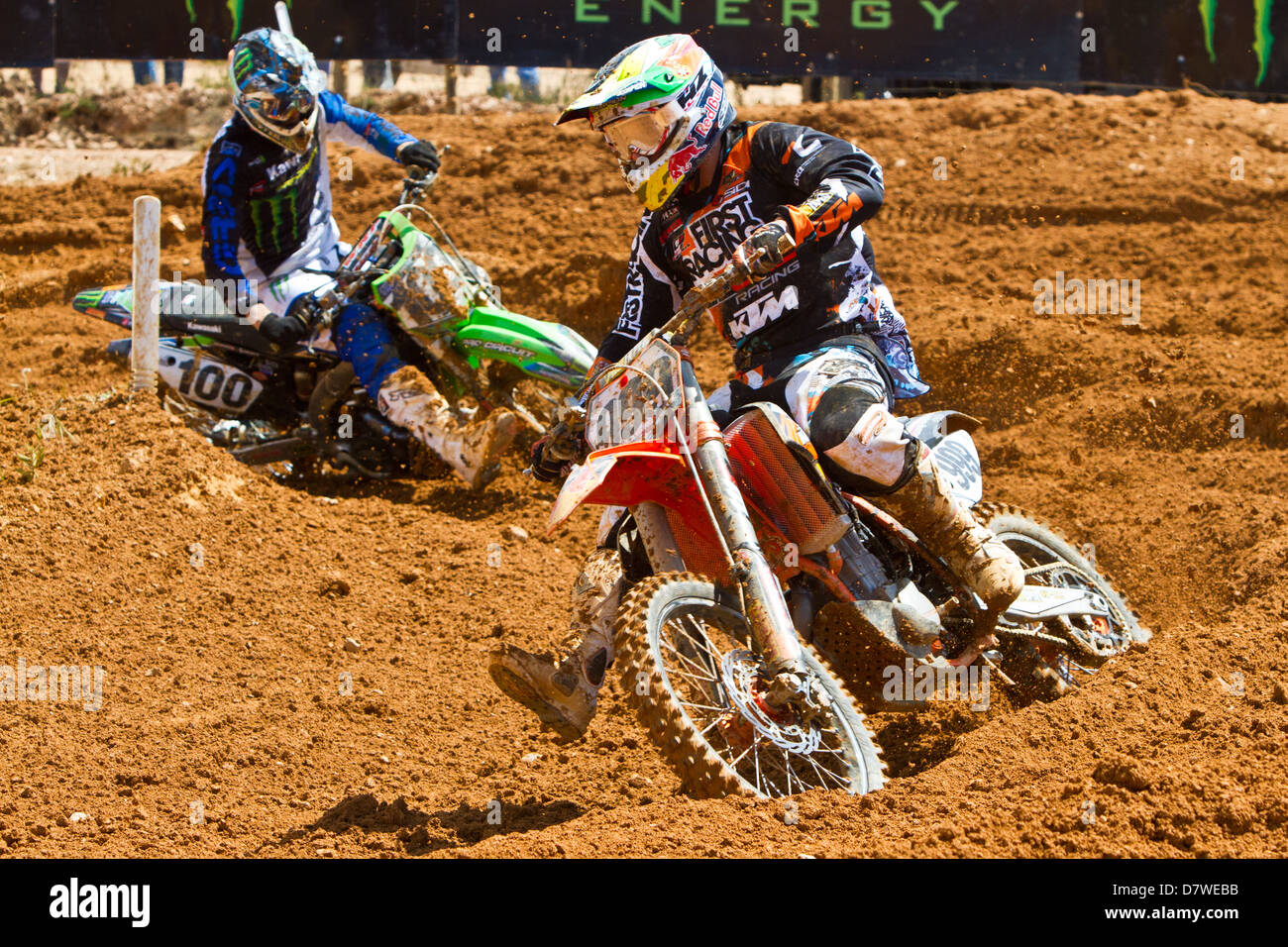 Agueda, Portugal, 5th May 2013, World Championship MX1, Portuguese Rui Goncalves with a KTM, 9th race 1 and 11th - Stock Image
