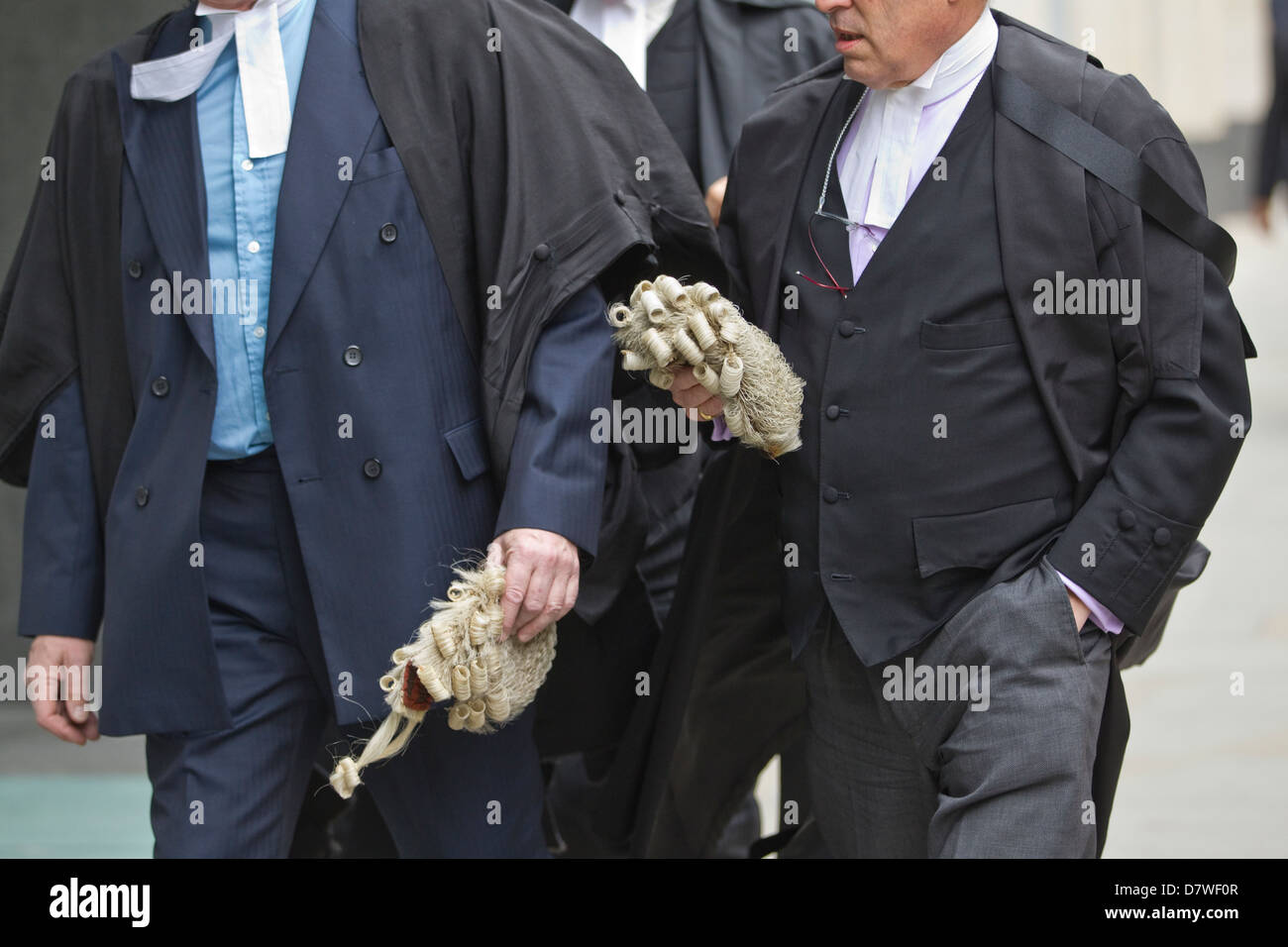 Barristers QC arriving at Court, London, UK - Stock Image