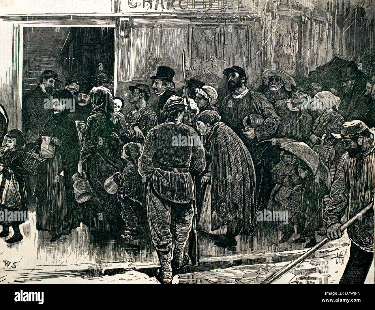 A queue in Paris ( after William Small ) 1871 by Sydney Prior Hall 1842-1922 - Stock Image