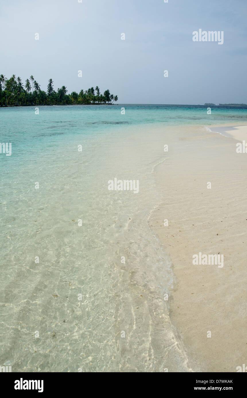 Distant islands and Beach, San Blas Islands Stock Photo
