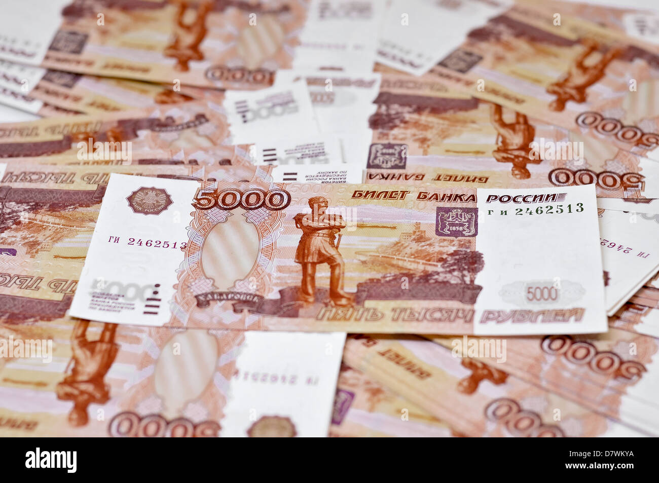 5000 rubles macro money background - Stock Image