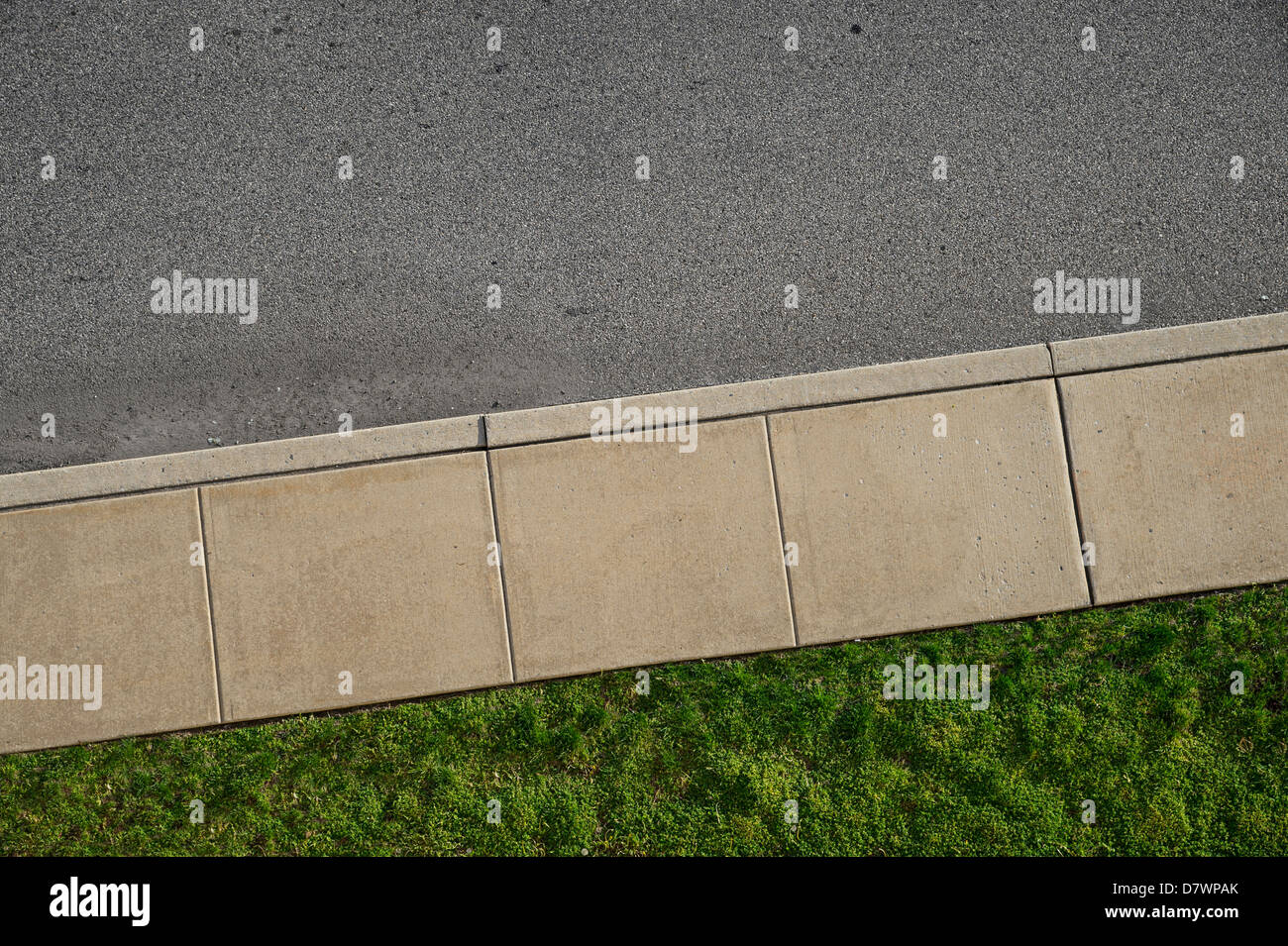 Aerial View Of Empty Sidewalk - Stock Image