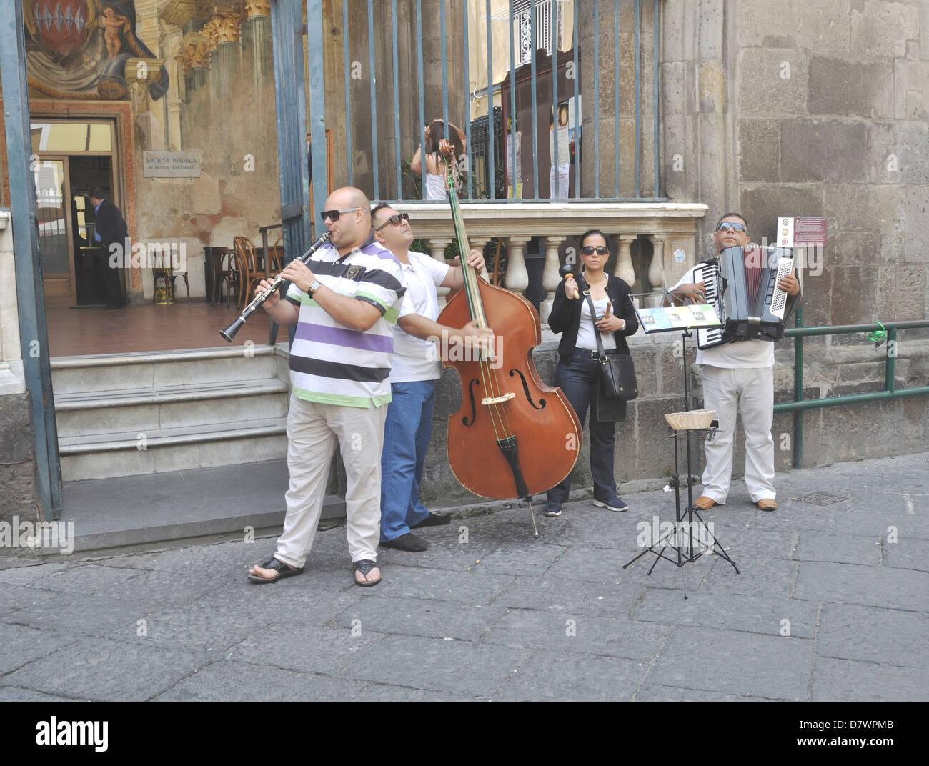 Street musicians in Sorrento, Italy. Stock Photo