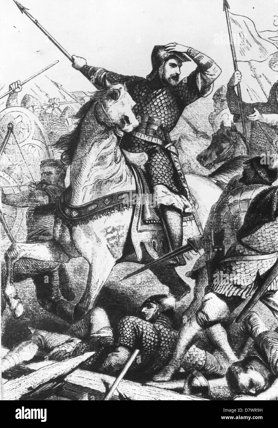 WILLIAM THE CONQUEROR (c1028-1087) at the Battle of Hastings in a 18th century engraving - Stock Image