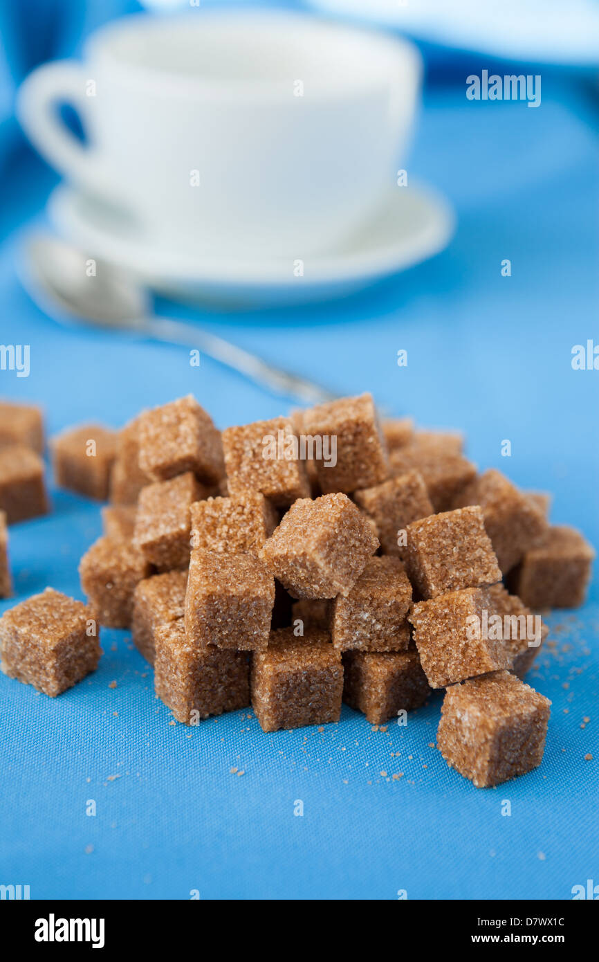 cane sugar and refined white cup, closeup food - Stock Image