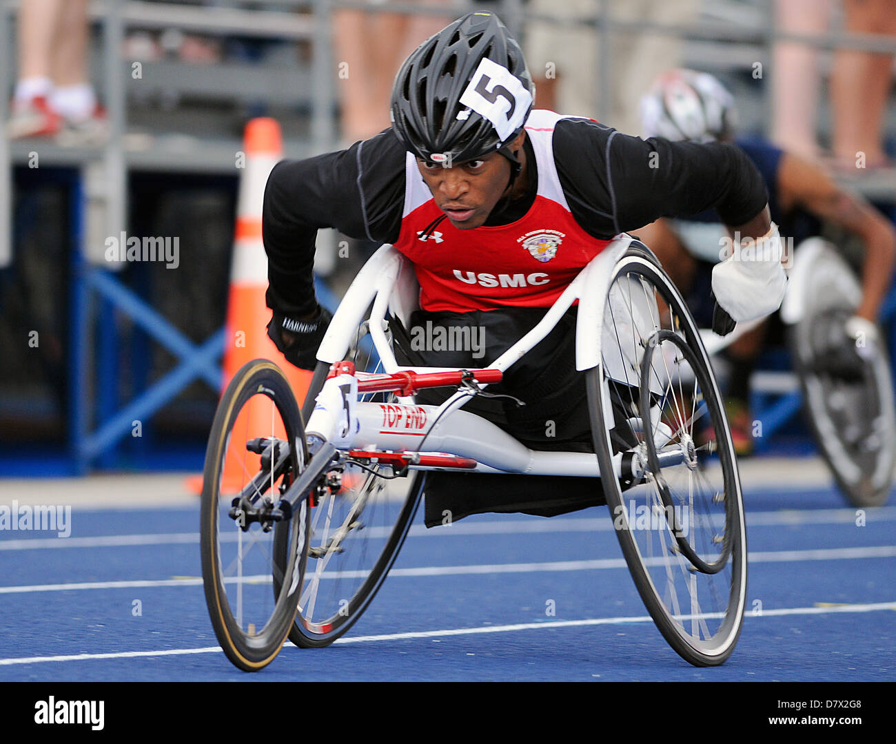 Colorado Springs, USA. 14th May 2013. Marine Corps wounded warrior, Anthony McDonald, in the men's 200 meter wheelchair Stock Photo