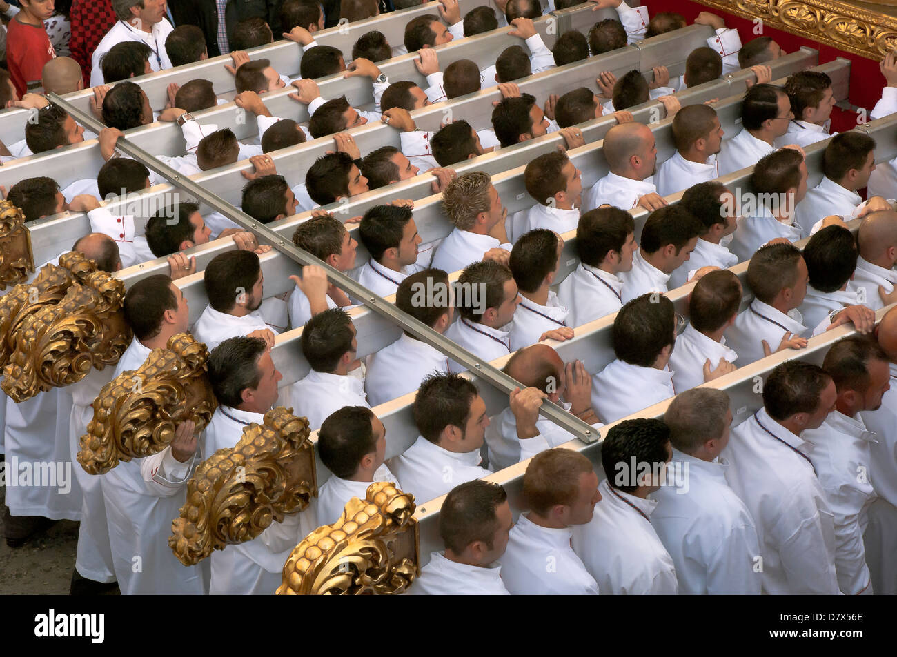 Holy Week, Brotherhood of the Last Supper, Men throne; Malaga, Region of Andalusia, Spain, Europe - Stock Image