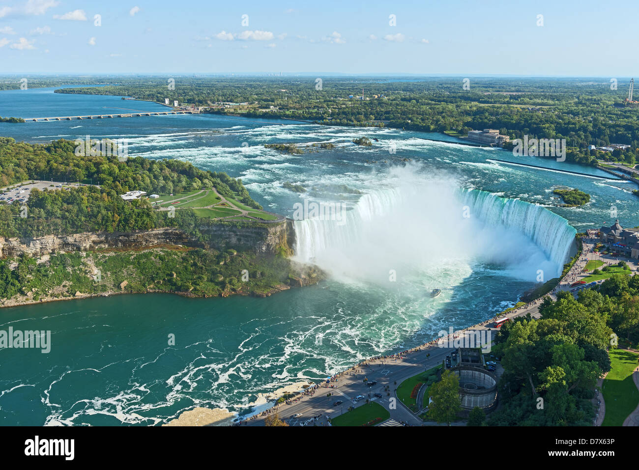 Niagara Falls aerial view from Skylon Tower platforms - Stock Image