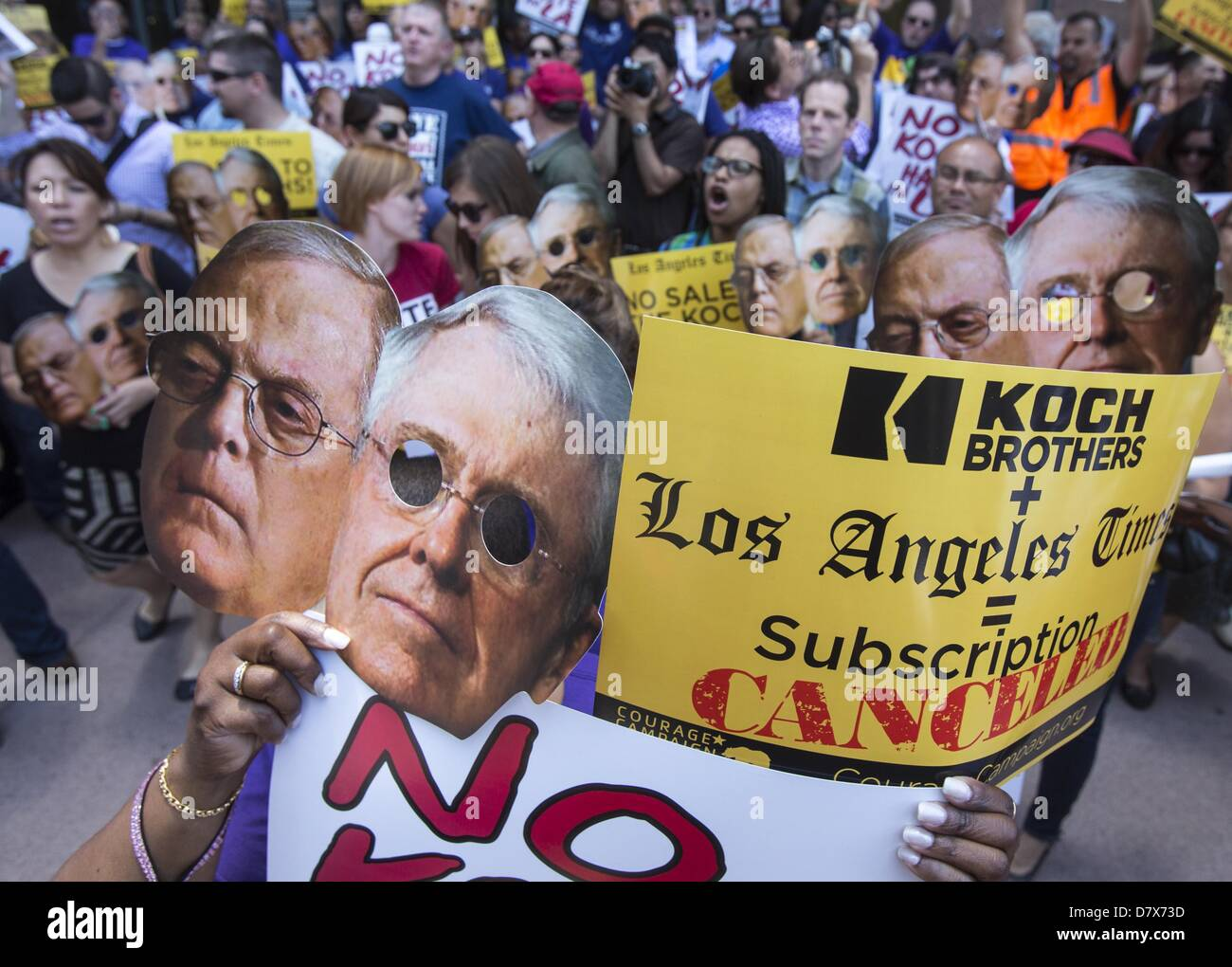 May 14, 2013 - Los Angeles, California, U.S - Members of the Los Angeles Alliance for a New Economy protest during Stock Photo
