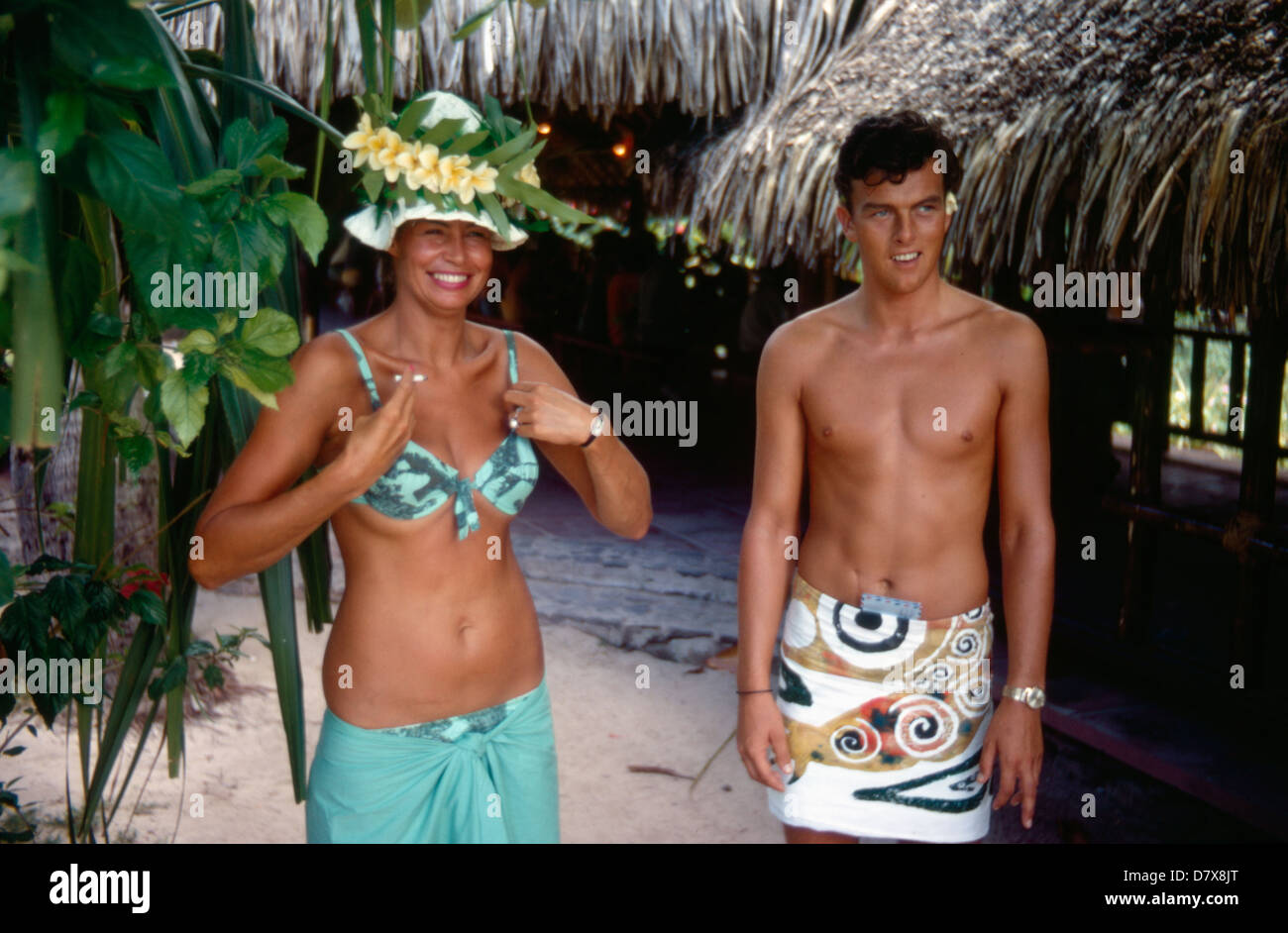 Young couple on vacation in South Pacific resort of Club Med, Tahiti, in French Polynesia - Stock Image