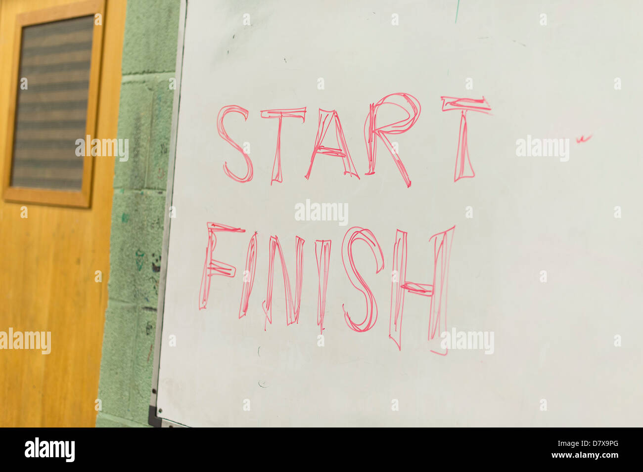 A start and finish sign in an exam hall gcse a level students - Stock Image