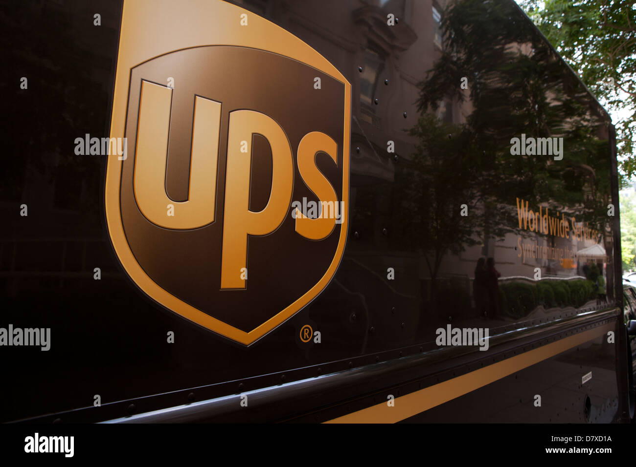 UPS logo on delivery truck - Stock Image