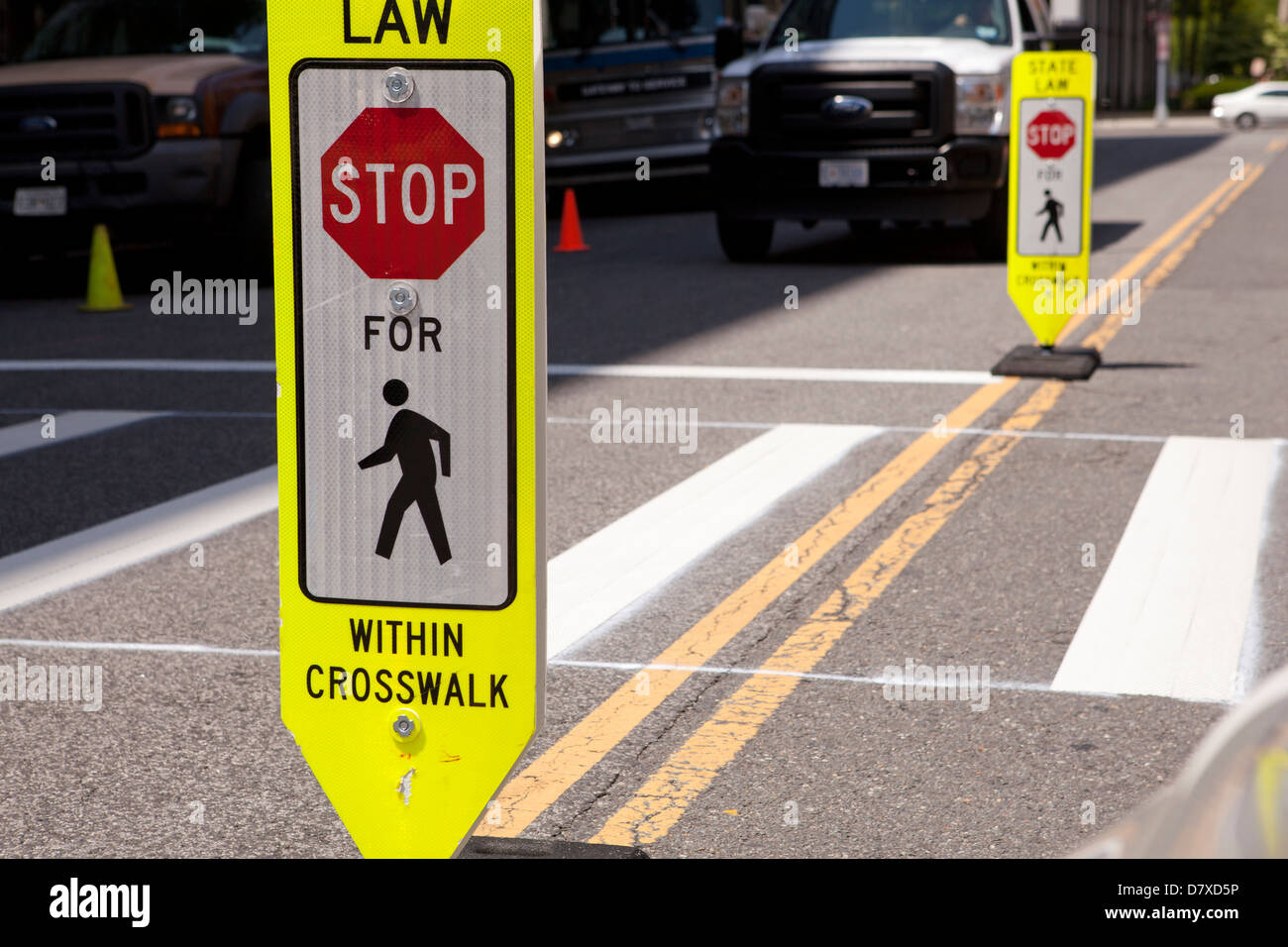 Stop for Pedestrian sign - Stock Image