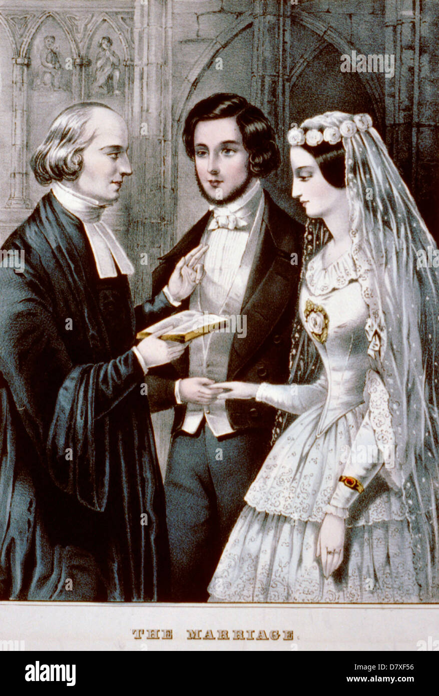 The Marriage - lithograph, circa 1847 - Stock Image