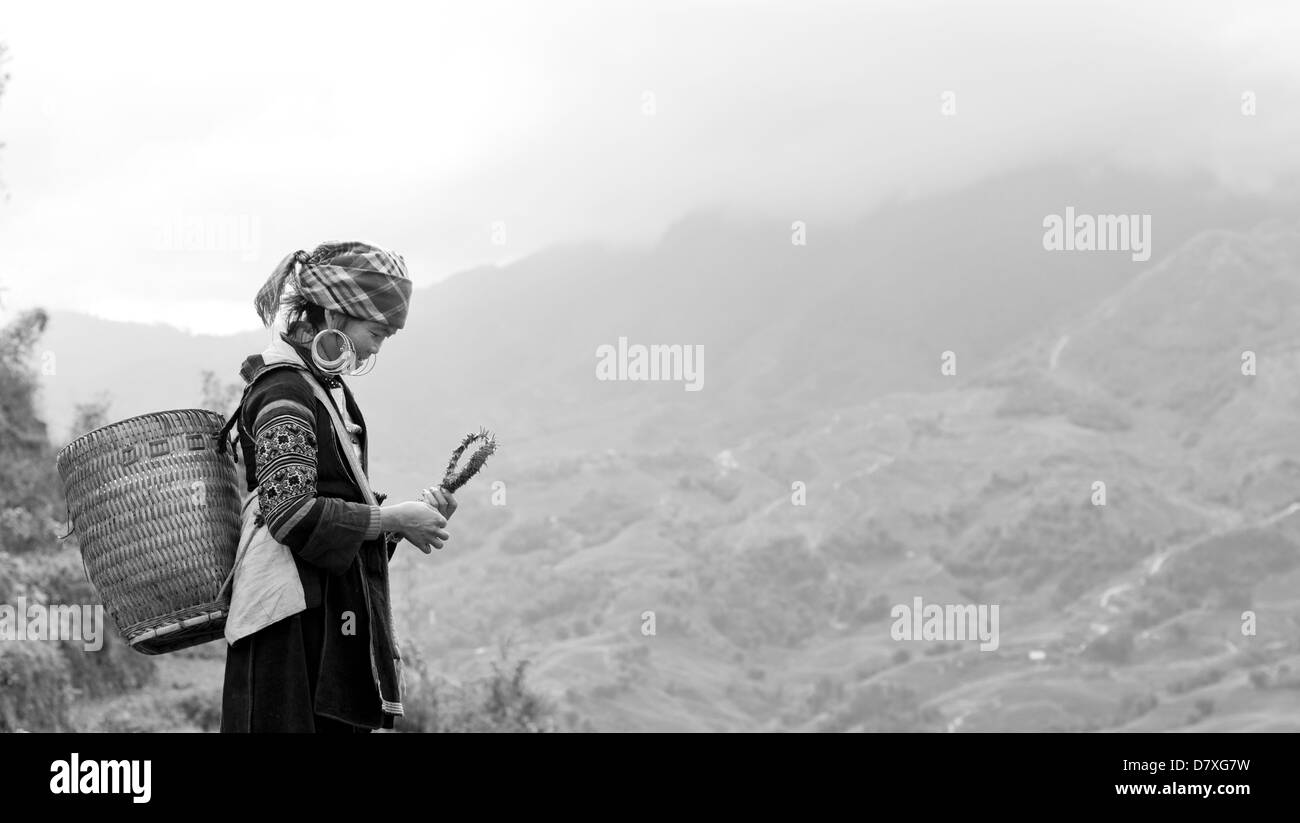 Hmong woman with basket standing in front of mountain scenery - Stock Image