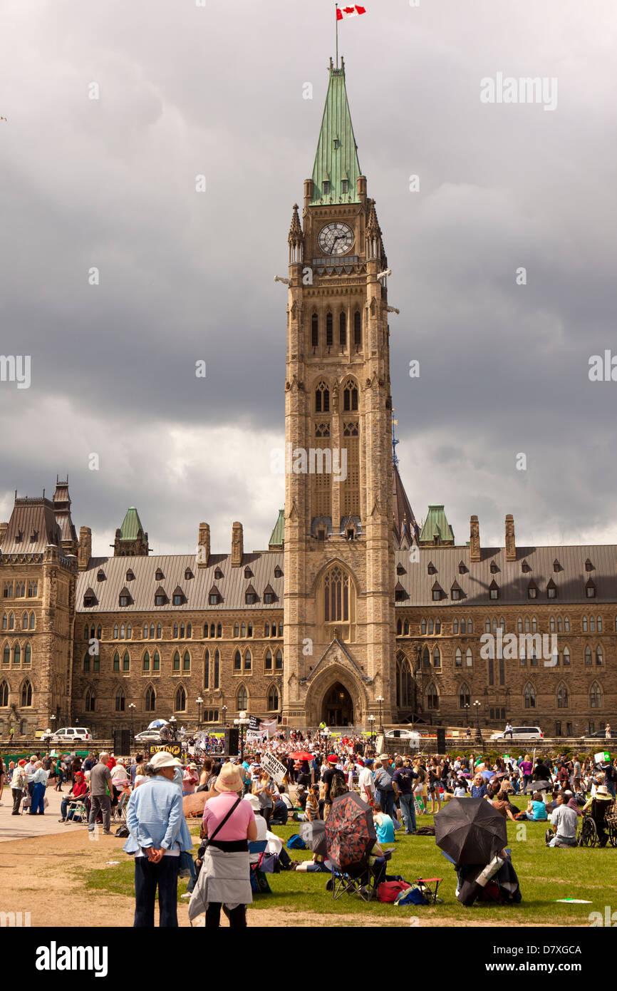 pro life demonstration at Parlaiment buildings in Ottawa, Canada - Stock Image