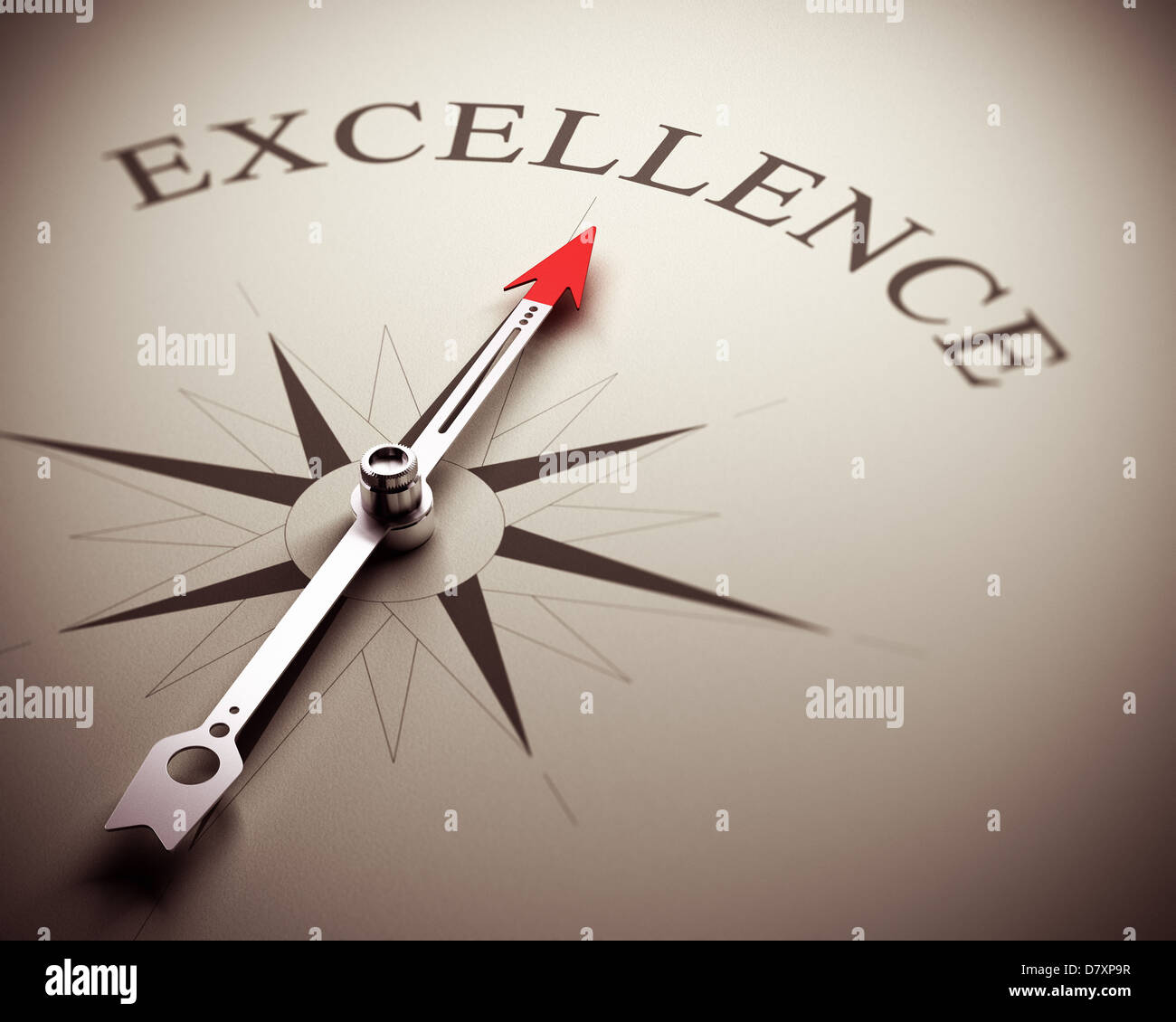 Compass needle pointing the word excellence, image suitable for business concept. 3D render illustration. - Stock Image