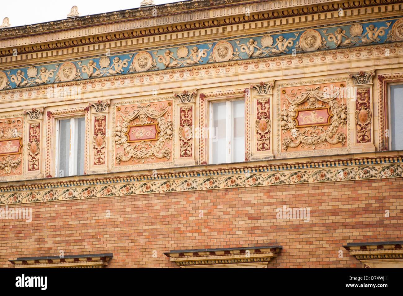 Budapest Hungary Varoliget District 1896 Hero's Milennium Square Mucsarnok Art Gallery ornate wall detail facade Stock Photo