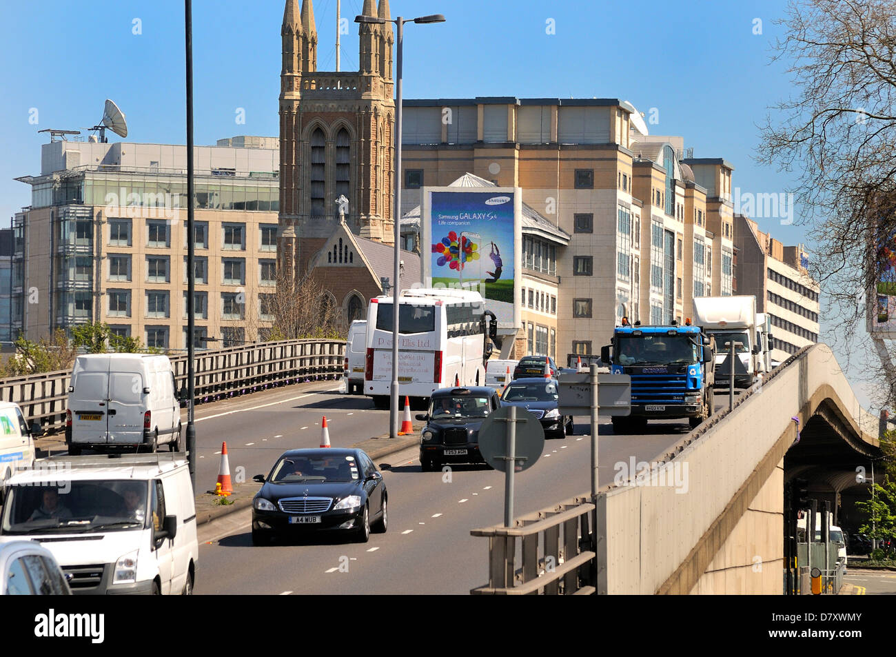Busy Hammersmith flyover West London UK - Stock Image