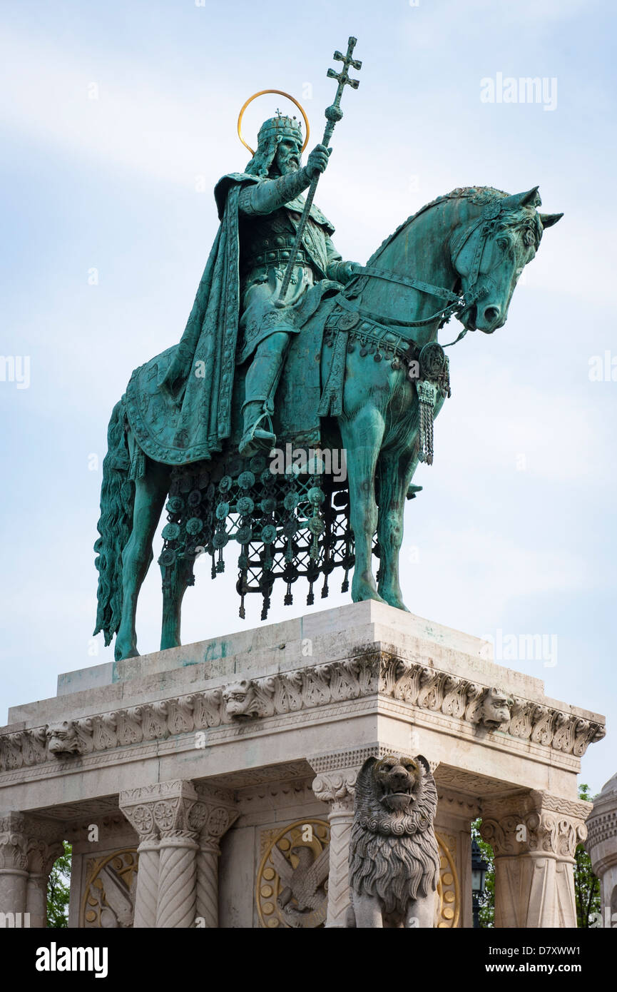 Budapest , Hungary , Fisherman's Bastion , statue sculpture bronze St Saint King Stephen 1 of 7 Magyar tribes crowned Stock Photo