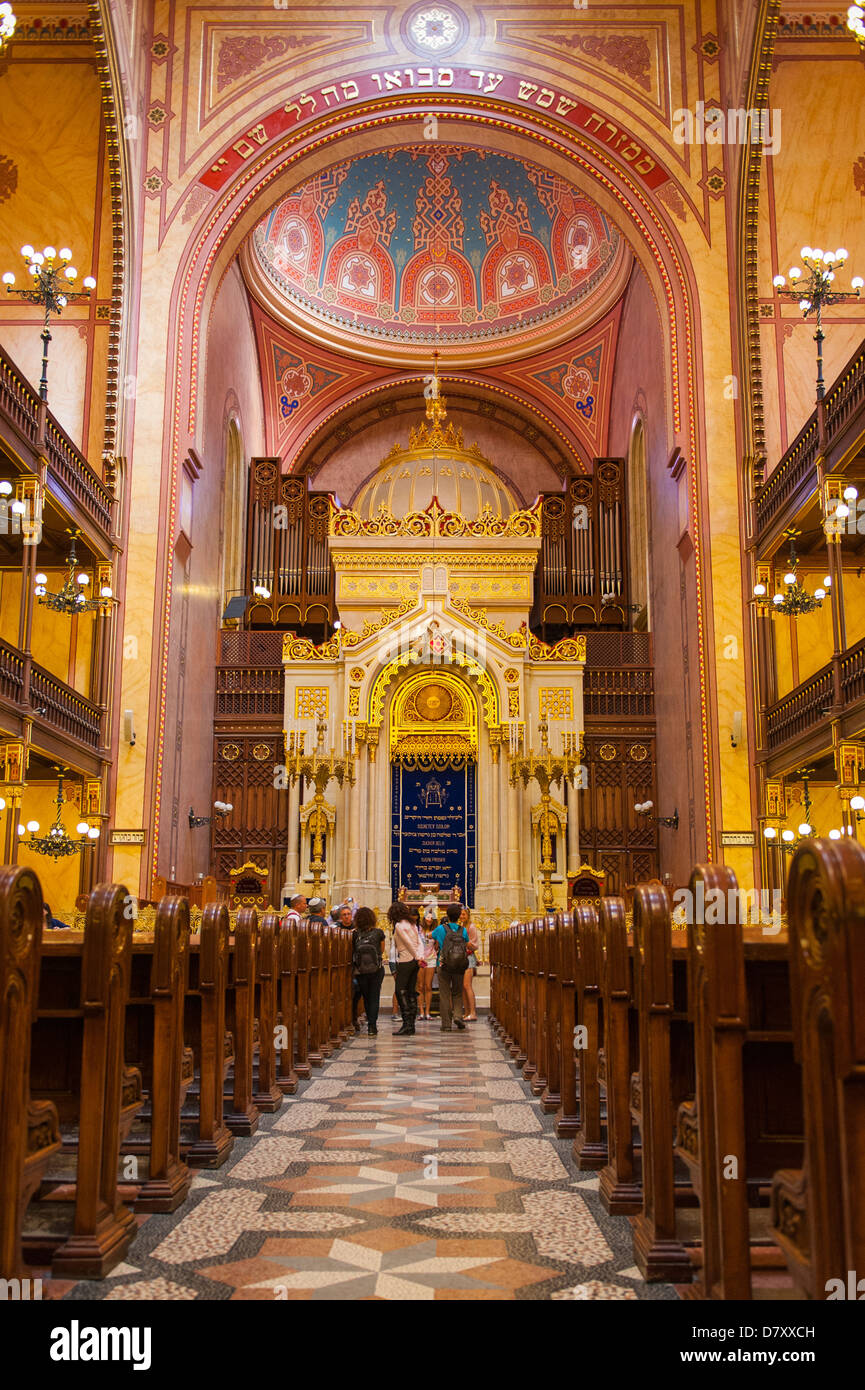 Budapest Hungary Jewish Quarter Great Synagogue Zsinagoga 1859 2nd largest in world altar ark Torah renovation part - Stock Image