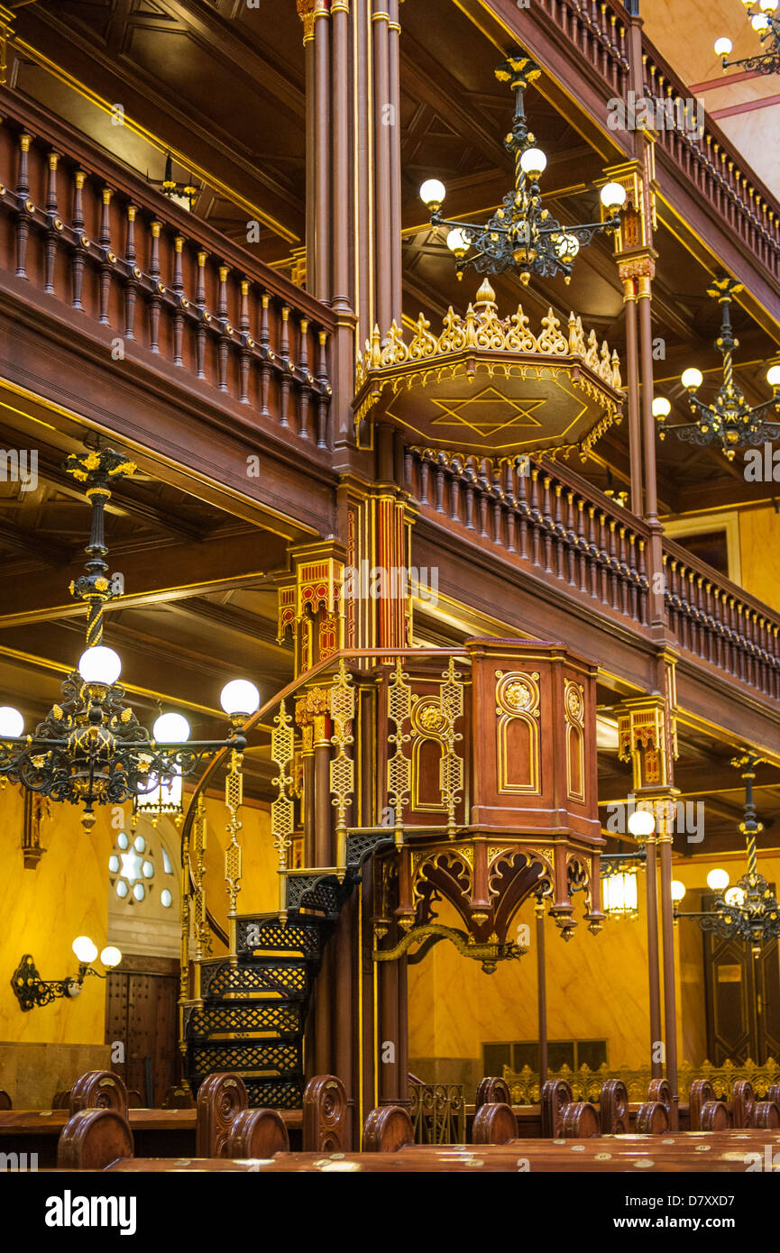 Budapest Hungary Jewish Quarter Great Synagogue Zsinagoga 1859 2nd largest in world pulpit lectern renovation part - Stock Image