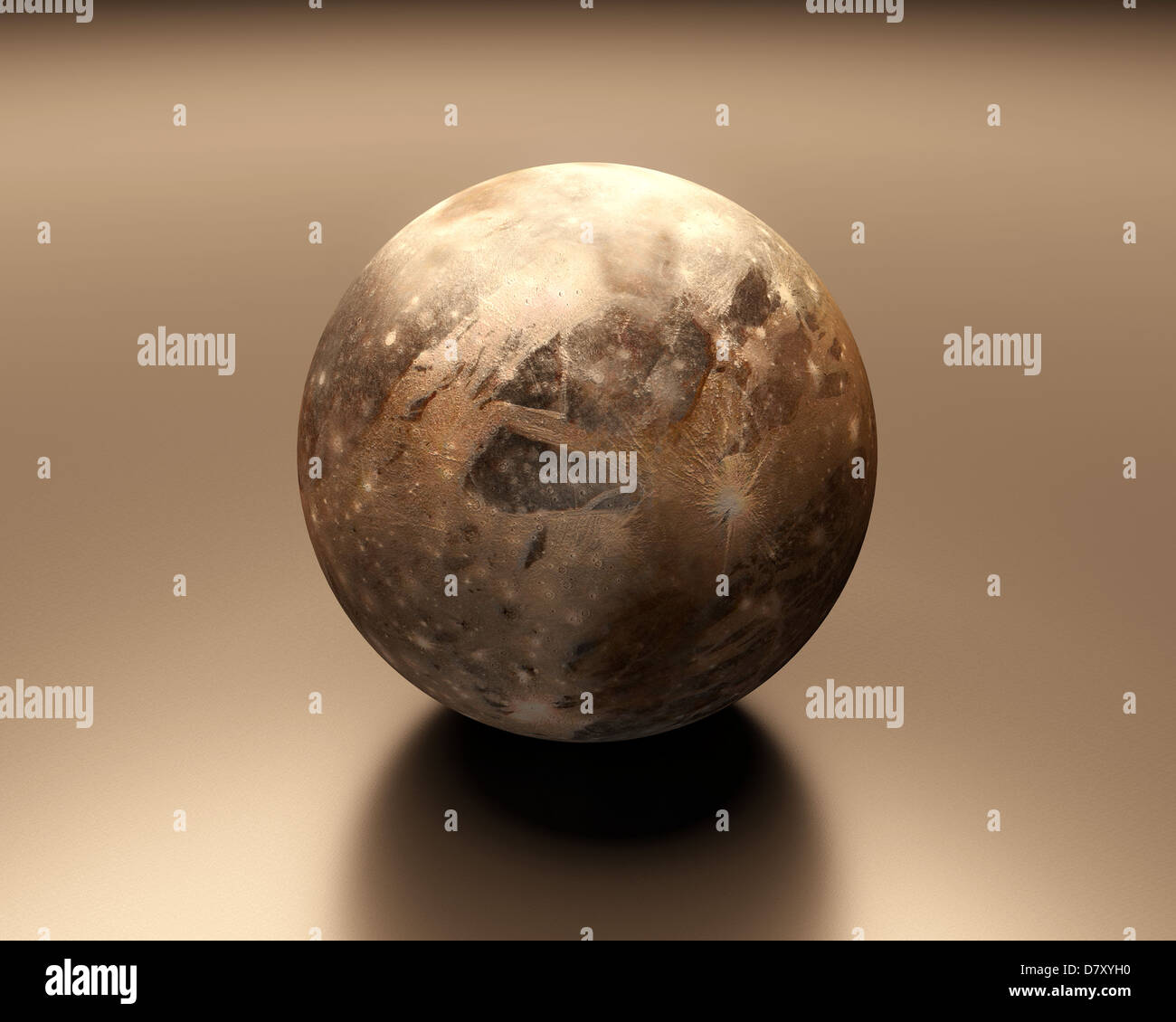 A rendered Image of the Jupiter Moon Ganymede. - Stock Image