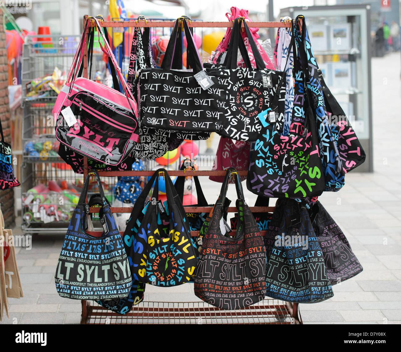 """Handbag with an inscription """"Sylt"""" on Sylt, on 09.05.2013. Stock Photo"""