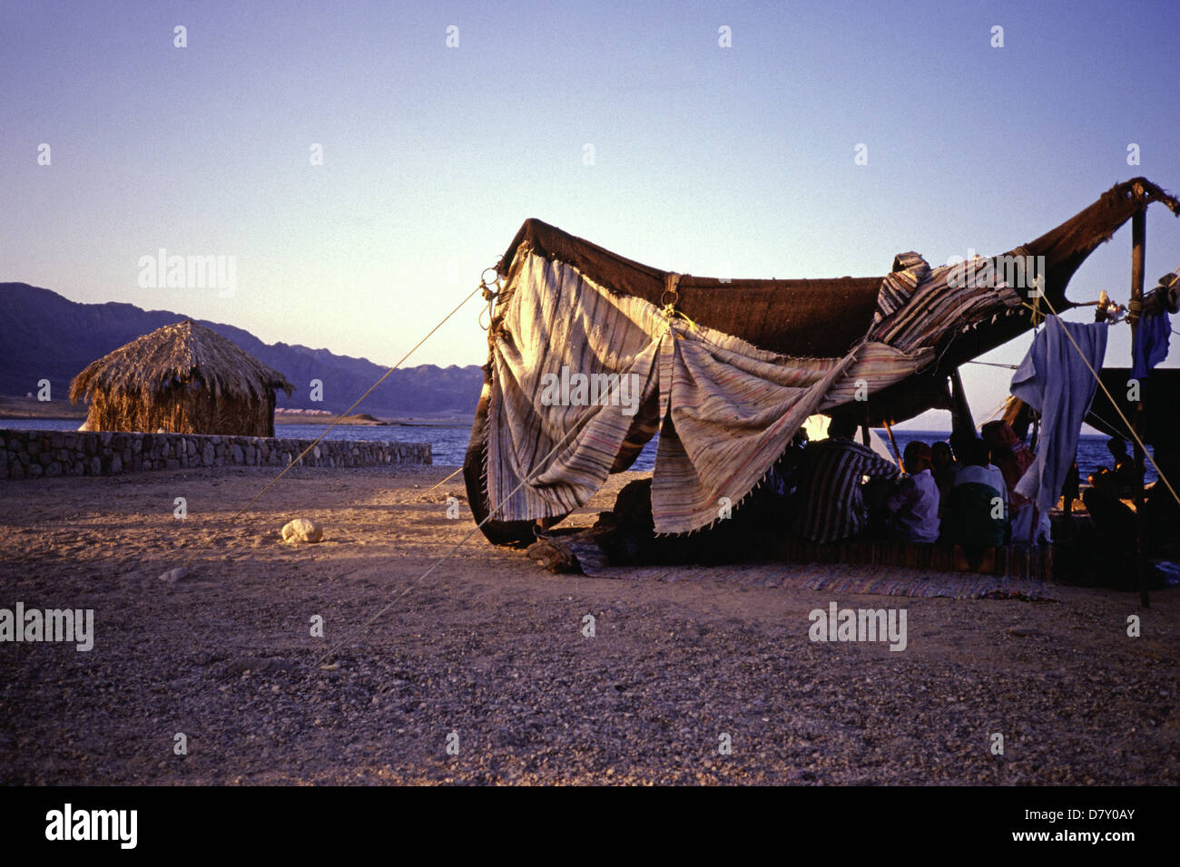 A Bedouin encampment in Ras el Satan beach resort near Nuweiba also spelled: Nueiba a coastal town in the eastern Stock Photo