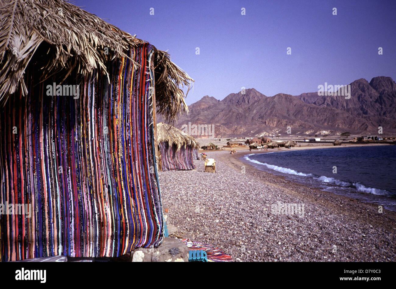 Bedouin style resort village in Ras el Satan beach resort near Nuweiba in the eastern part of Sinai Peninsula, Red - Stock Image