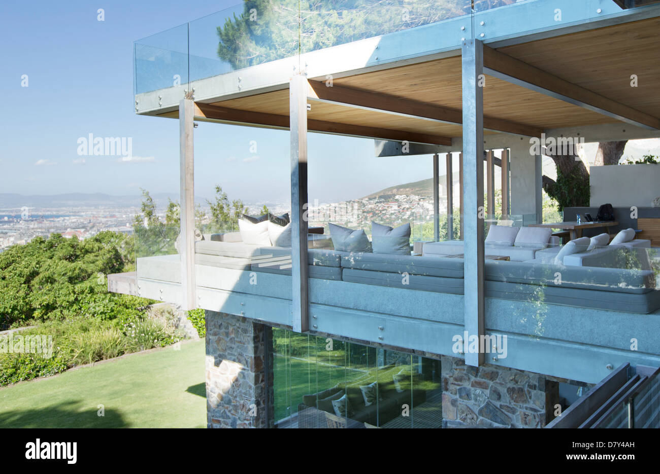 Glass walls of modern house - Stock Image
