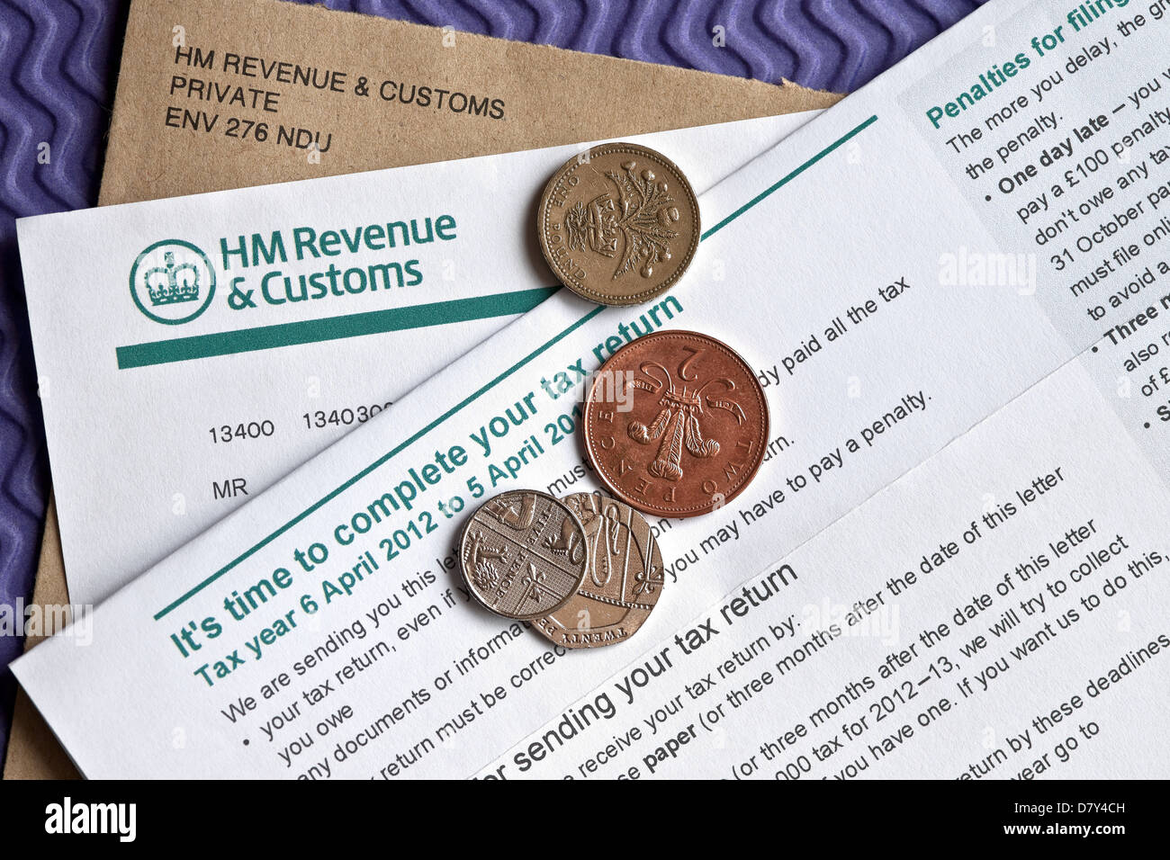 HM Customs and Revenue Self Assessment Notice to complete a Tax Return England UK United Kingdom GB Great Britain - Stock Image