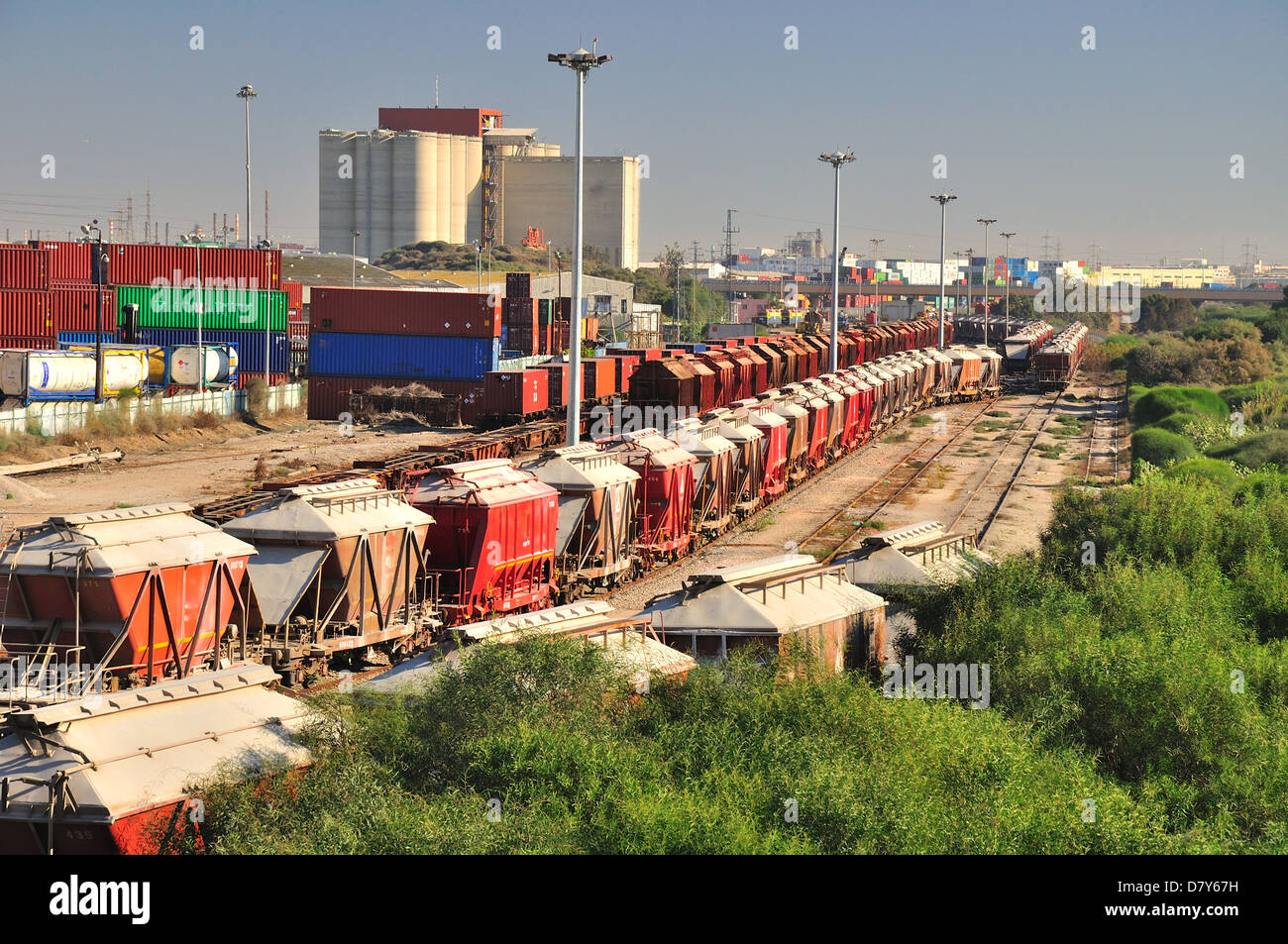 Industrial trains at the railway station. Stock Photo