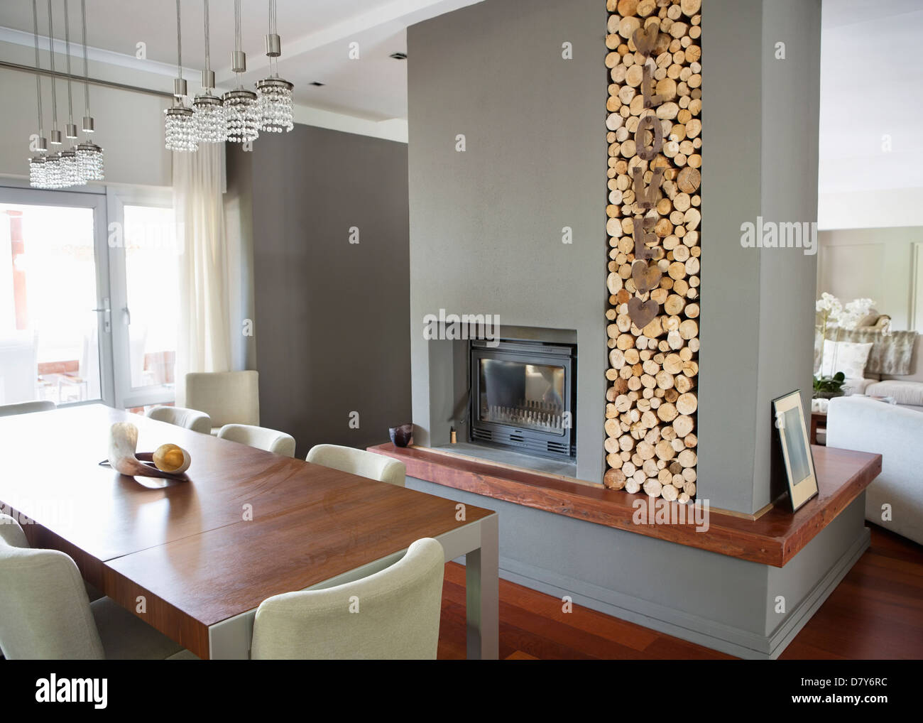 Fireplace in modern house - Stock Image