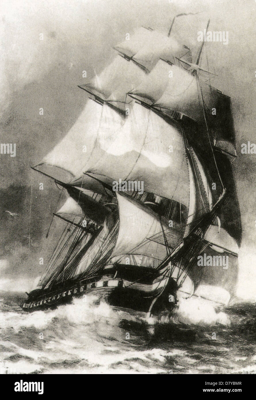 USS CONSTITUTION heavy frigate of 44 guns launched from Boston in 1797 - Stock Image