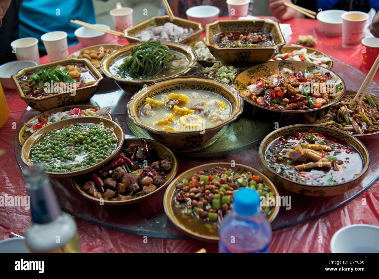 Wedding feast in rural Wenjiang, Chengdu, Sichuan, China.06-May-2013 - Stock Image