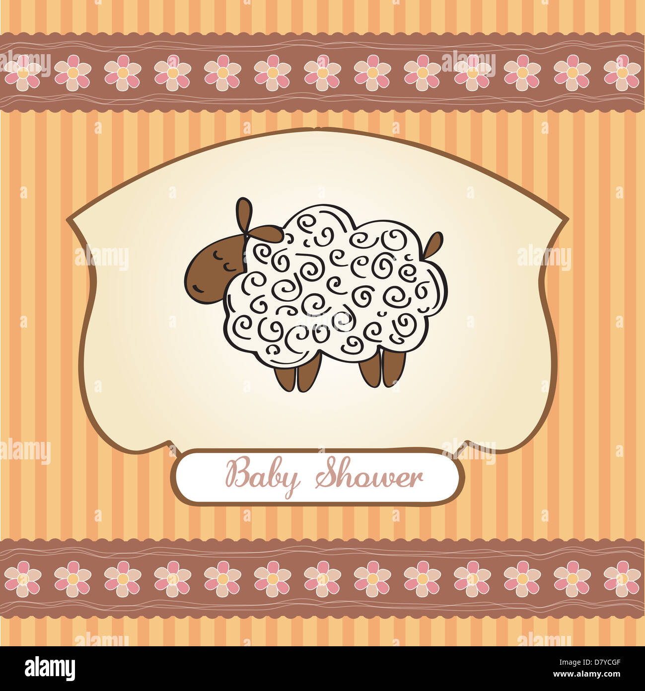 Cute Baby Shower Card With Sheep Vector Illustration Stock Photo