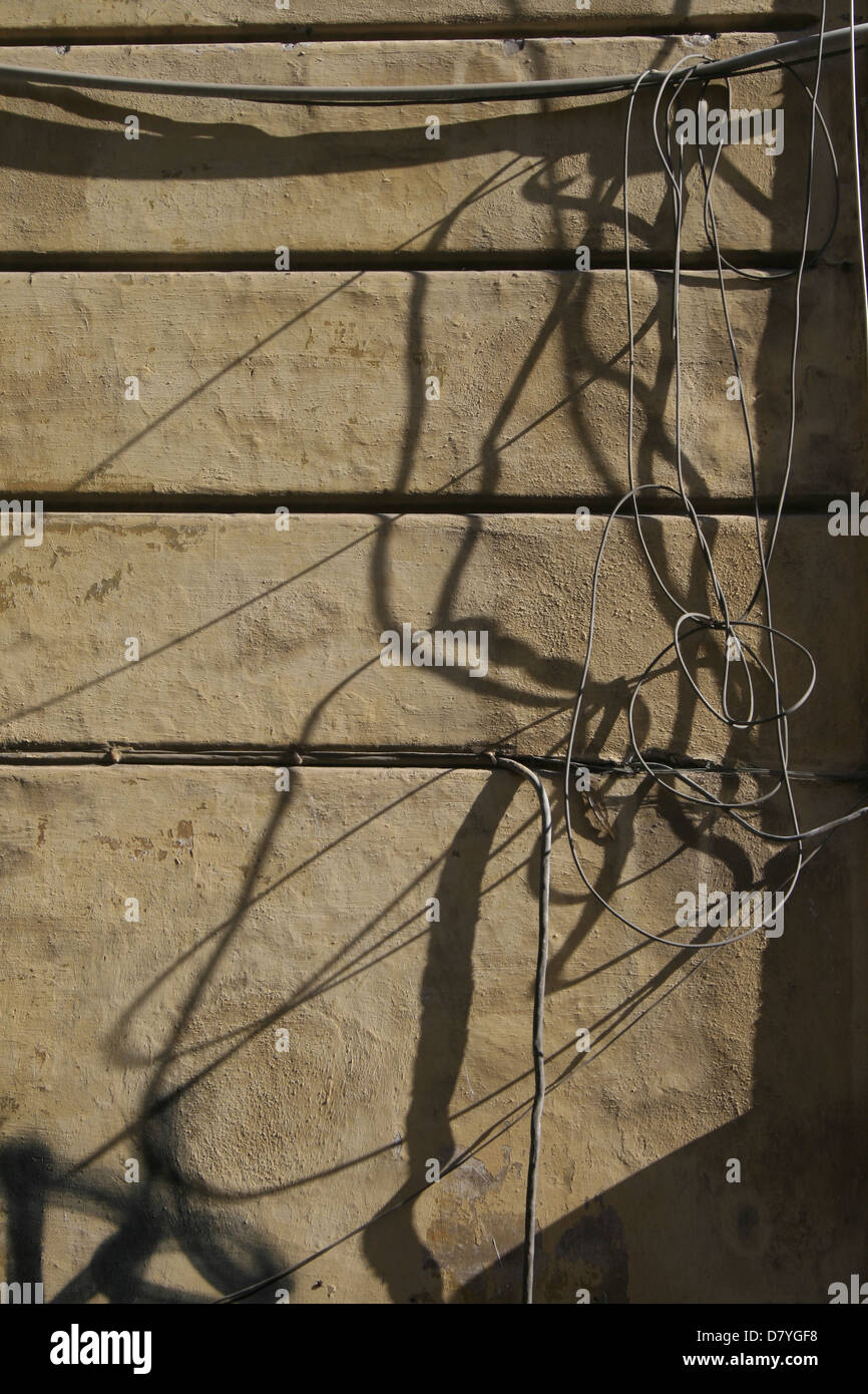 Electric Cables On Outside Of House Stock Photos Wiring Electricity Power Circuit Tubes Side Property Wall In Sun Image